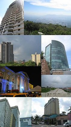 Collage of pictures of the San Salvador Metro Area, mostly recent buildings. From top: Alisios 115 (left) panorama (right), San Benito District (left), World Trade Center Torre Futura (right), National Palace (left), Monseñor Romero Boulevard (right), Financial Center (left), Hilton Princess San Salvador (right)