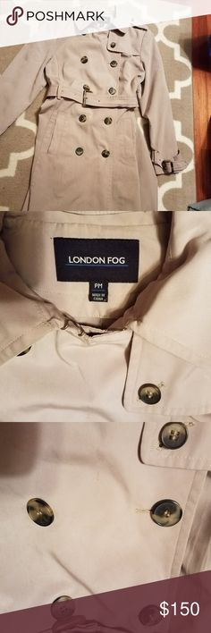 London Fog tan trench rain coat London Fog tan/camel rain jacket in excellent condition. I just had it dried cleaned. I upgraded to a new coat and want this one to go to a good home. The sizing says PM but it fits best a size 8-10, though can easily be cinched smaller with the waist band. This is a really great lighter weight every day/ nicer than normal trench coat. I spent a lot of money on this when I first got it and have taken excellent care of it. (Non- animal/ non-smoker) London Fog…