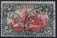 "Philasearch.com - German Colonies Kiautschou, Michel 27A - ""1905, ship design unwatermarked, 2 1/2 Dollar, green black / dark carmine, 26:17 perforation holes, neat cancelled ""TSINGTAU Kiautschou a 18 / 10 05"", faultless choise copy condition this used very scarce stamp, older marks and expertized R. Steuer with photo certificate, Michel 6000,--. ""  Lot condition   Dealer HBA  Auction Starting Price: 1500.00 EUR"