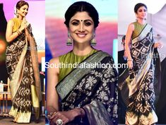 Shilpa Shetty attended JITO Conference in Chennai wearing a black banarasi silk saree paired with contrast green high neck sleeveless blouse. Statement polki jhumkis, ring and a center parted bun enhanced with mogra finished out her look! Kalamkari Saree, Banarasi Sarees, Lehenga, Sharara, Grey Saree, Black Saree, Designer Silk Sarees, Indian Designer Wear, Blouse Patterns