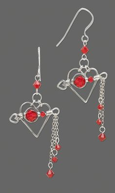 Valentine's Day #Earrings: Cupid's arrow pierces a sterling silver heart hung with red #Swarovski beads. Romantic!