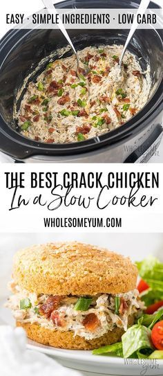 Crock Pot Slow Cooker Crack Chicken Recipe - This slow cooker crack chicken recipe is so EASY! If you want to know how to make Crock Pot crack chicken, it takes just 10 minutes prep time. And, no one will know it happens to be keto crack chicken, too. Lunch Recipes, Low Carb Recipes, Crockpot Recipes, Real Food Recipes, Dinner Recipes, Healthy Recipes, Cooker Recipes, Easy Recipes, Soup Recipes
