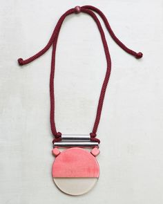 Pink Wood and Aluminum Slip-On Statement Necklace