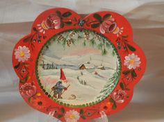 Hand Painted Wooden Plate