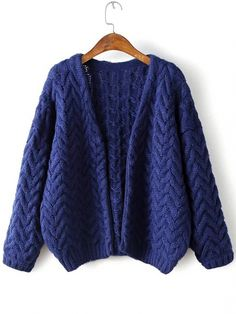 Buy Navy Open Front Cable Knit Loose Sweater Coat from abaday.com, FREE shipping Worldwide - Fashion Clothing, Latest Street Fashion At Abaday.com