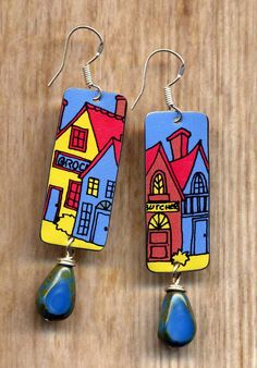 City Mismatch Tin Earrings, One of a kind Tin Earrings, Row Houses Sterling Silv. City Mismatch Tin Earrings, One of a kind Tin Earrings, Row Houses Sterling Silv… City Mismatch Paper Earrings, Wooden Earrings, Diy Earrings, Polymer Clay Earrings, Silver Earrings, Silver Necklaces, Jewelry Crafts, Jewelry Art, Handmade Jewelry