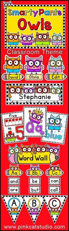 Smarty Pants Owls Classroom Theme Pack: Create a fun and whimsical owl themed classroom with this quality décor set. These smart and quirky owls in their cute little pants are sure to capture the imagination of your students. By Pink Cat Studio Owl Theme Classroom, Classroom Jobs, Montessori Classroom, Future Classroom, Classroom Organization, Teacher Binder, Ideas Geniales, School Decorations, Beginning Of School