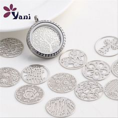 Choose Floating charm 22mm Silver discs Round for glass Living Memory Locket ! #NOBrand #Charms