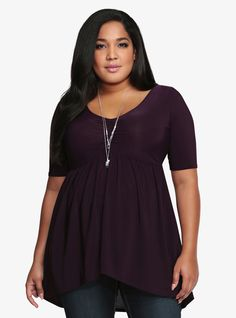 I have this in black.  Love it!  Plus Size Torrid Babydoll Top
