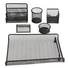 Caveen 6 Piece Black Metal Mesh Desktop Office Supply - Document Tray/Mail Sorter/Sticky Note Holder,/ Business Card Holder/Pen/Pencil Cup/ Clip Cup.