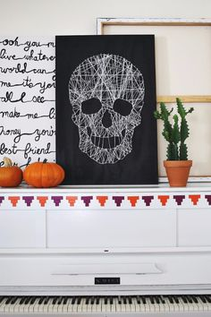 DIY String Art Projects - Skull String Art - Cool, Fun and Easy Letters, Patterns and Wall Art Tutorials for String Art - How to Make Names, Words, Hearts…