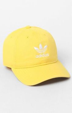 Finish any look with a fresh cap provided by adidas. The Relaxed Yellow Strapback Dad Hat has an adjustable rear, breathable embroidered eyelets, and adidas Trefoil logos on the front and back. Baseball Cap Outfit, Baseball Hats, Baseball Jewelry, Funny Baseball, Baseball Pitching, Baseball Season, Adidas Cap, Yellow Adidas, Snapback Hats