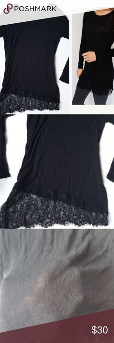BCBG Maxazria lace hem tunic top Medium-D5 BCBG Maxazria black lace helpline tunic top. Thin material & perfect for layering! Size medium. Used item: pictures show any signs of wear. Inspected for quality. Bundle up! Offers always welcome:)  Check out my husband's closet: @kirchingeraaron BCBG Tops Tunics