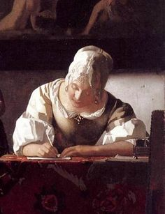 Jan Vermeer, Signora che scrive una lettera (dettaglio), 1670 ca. Dublino, National Gallery of Ireland