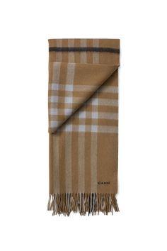 Woollen Accessories Scarf, Tobacco Brown Check, hi-res