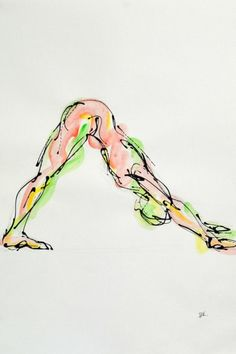 This gorgeous yoga drawing was done by Bulgarian born artist Boryana Korcheva. I love how she captured the movement and energy of this pose!