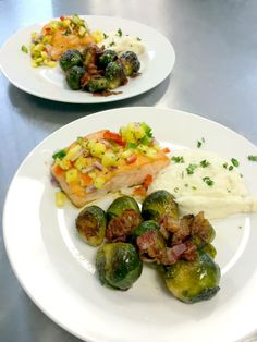 www.eventsbybh.com Citrus Glazed Salmon with mango salsa, served with mashed cauliflower and roasted brussel sprouts with bacon. #Wedding #Tasting - Info@EventsByBH.com