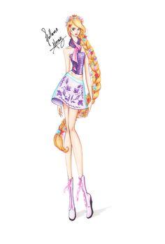 Guillermo García Meraz, art, illustration, fashion, fashion sketches, high fashion, Disney, fan art, film, Rapunzel