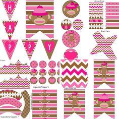 Girls Pink Sock Monkey Birthday Party Decorations Printable Package Girls Pink Sock Monkey Birthday Party by PocketOfPosiesPrints