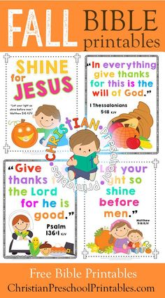 Free Thanksgiving Bible Printables for Kids.  Harvest Crafts, Bible Verse Cards, Coloring Pages, Games and more!
