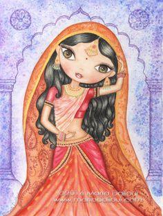 Indian Princess Dancing watercolor art print. Hindu girl whimsical art. Indian girl with sari illustration. Indian dance cute painting.