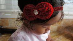 Red Shabby Chiffon Flower Hair Bow Headband Girl by MiShaMeDesigns, $8.99