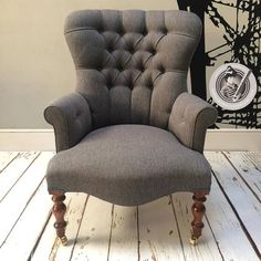 collectables, vintage and painted furniture World Of Interiors, Modern Interiors, Grey Lounge, Brown And Grey, Deep Brown, Dark Grey, Hand Painted Furniture, Upholstered Chairs, Salon Gris