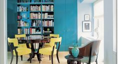 Yellow and Turquoise Dining Area