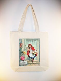 Vintage Little Red Riding Hood illustration Tote - Larger Zipper top style and personalization available
