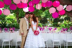 Take our hot pink outdoor lanterns to a destination wedding where the vivid colours will pop against lush greens, turquoise seas and stunning white sand!
