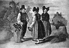 """Markgräfler; Um 1840 ist das Käppchen ganz weggefallen, und die """"Hornchappe"""" wird bei den Mädchen durch ein unter den Zöpfen durchgeschlungenes, darüber ... #MarkgraeflerLand"""
