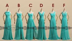 long blue green Bridesmaid Dress / chiffon by GoldenBridalsDresses, $69.00