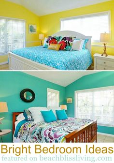 Bright painted bedroom wall ideas for beach bliss living! http://beachblissliving.com/beach-decorating-with-tropical-colors/