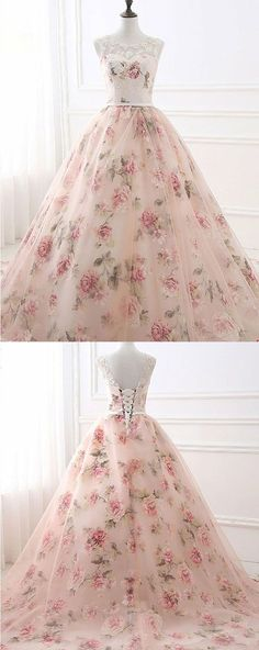 Ball Gown Printed Prom Dress with Appliques, Gorgeous Evening Party Dress #eveningdresses #party #shortpromdress