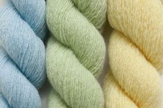 Blue Heather, Pale Spring, and Mellow Yellow Color Set recycled Cashmere Yarn, 843 yards 008