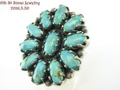 Estate Bold Southwestern Sterling Silver 925 Turquoise Cluster Ring Size 7.5 #D___