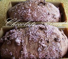It is Day 4 of Bread Week and we just have to sneak in my recipe for Chocolate Bread studded with chocolate chips and topped with pink san. Yeast Bread, Bread Baking, Bread Machine Recipes, Bread Recipes, Delicious Desserts, Yummy Food, Yummy Yummy, Tasty, Muffins
