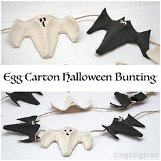 I love the way this simple Egg Box (Carton) Halloween Bunting turned out. It's so simple and effective and definitely one for the kids to help with