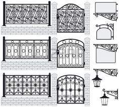 Set of iron wrought fences, gates, signboards and lanterns with decorative ornaments  Vector illustration   photo