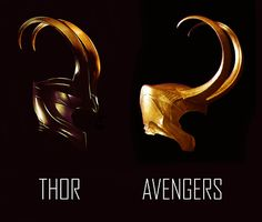 Difference between Loki's helm in Thor and Avengers These come from two photos of very different quality so don't take this as a comparison in texture, color, etc; simply regarding the shape of the helm. Loki Thor, Tom Hiddleston Loki, Loki Laufeyson, Marvel Dc Comics, Marvel Heroes, Marvel Avengers, Loki Costume, Loki Cosplay, Marvel Universe