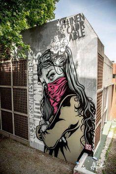 """Mural """"La fille du Printemps"""", pour Grenoble Street Art Fest by RNST."""