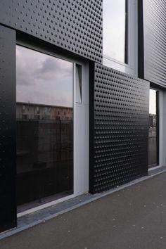*modern architecture, textured walls, design, facades, windows, black* - SPORT SCHOOL LEIDSCHE RIJN by Wiel Arets, Netherlands