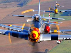 P51 Mustangs over England's countryside