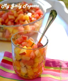 Salade fraîcheur melon, pastèque, nectarine, abricot, menthe et un soupçon d'huile d'olive