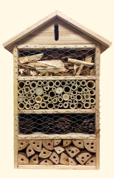solitary bee/ mason bee house - the chicken wire deters birds from eating your bugs