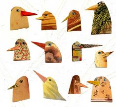 birds I have known 1 birds bird heads yellow by susanfarrington, $20.00