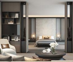 Partial barrier in master bedroom Sanya Villas - Sanya - Interiors - SCDA Modern Interior Design, Luxury Interior, Interior Architecture, Luxury Decor, Interior Ideas, Home Bedroom, Modern Bedroom, Bedroom Decor, Bedroom Lighting