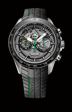The @graham1695 #Silverstone RS Skeleton combines polished and hand-drawn-strokes steel (for the case), ceramic (for the bezel), aluminum (for the knurled, colored ring under the bezel) and rubber (for the strap, which sports a distinctive tire-tread pattern).