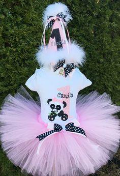 Baby Girl Birthday Outfit  Panda Bear Tutu Set by ChristiCreations