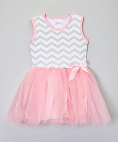 Look at this #zulilyfind! Pink & Gray Chevron Dress - Toddler & Girls by Sweet Cheeks #zulilyfinds